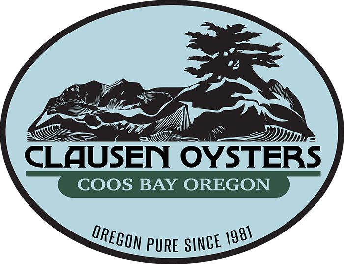 Image result for clausen oysters logo coos bay